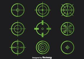 Grön Crosshairs Vector Set