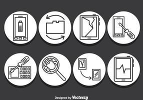Ícones de reparo de smartphones vetor