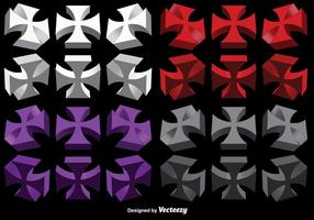 Vector Set Of 3D Maltese Crosses