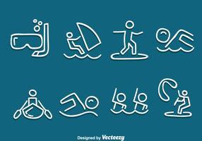 Handdragen vattensport vektor uppsättning