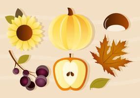 Gratis Vector Pumpkin och Apple Autumn Elements