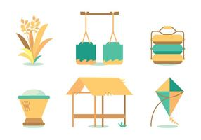 Harvesting Oats Vector Set