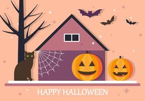 Happy Halloween House Vector Background