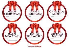 Vector Set Of Round Labels With Christmas Messages And Bows