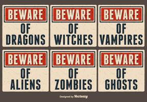 Vector Old Paper Signs For Halloween