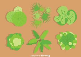 Green Tree Tops Vector Set