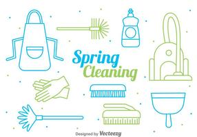 Spring Cleaning Line Style Vector