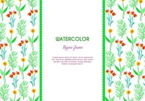 Watercolor Thyme and Flower Vector Frame
