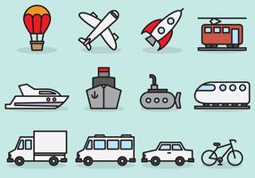 Cute Transport Icons vector