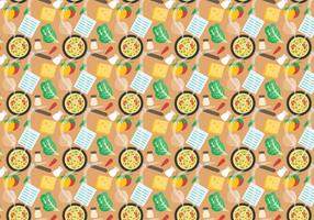 Free Recipe Card with Food Pattern Vector