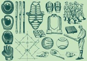 Elementos del béisbol del vintage