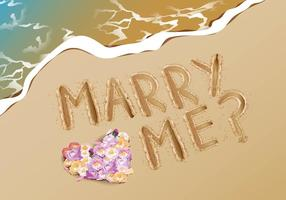 Marry Me Proposal Idea At Beach vector