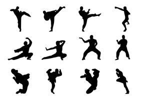 Vector de silhueta de artes marciais grátis