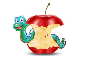 Cute Earthworm with Eaten Apple Vector