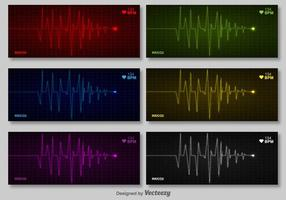 Vector Set Of Cardiogram Of Heart