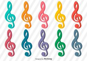 Collection of vector treble clef icons