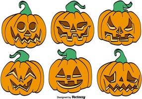 Vector Set Of Cartoon Pumpkins For Halloween