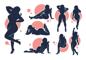 Vector Silhouettes of Plus Size girls