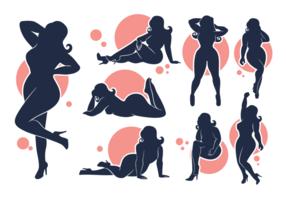 Vector siluetas de las niñas de tamaño Plus