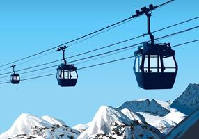 Cable Car over the Mountain Vector Scene