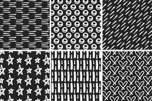 Hand Drawn Monocromatic Vector Patterns