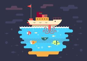 Free Boat and Under Sea Vector Illustration