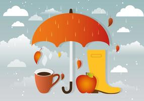 Acessórios de outono de vetor chuvoso