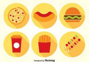 Fast Food Flat Icons Vector