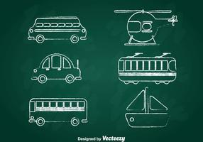 Transportation Chalk Draw Icons Set