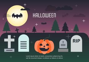 Pumpa Halloween Graveyard Vector Illustration