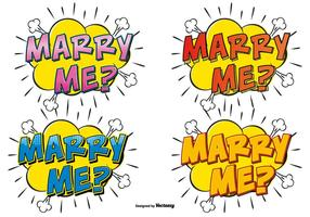 Comic Style Marry Me Text Illustrations