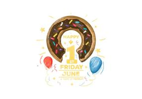 Free Doughnut Day Aquarela Vector