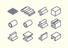 Stahl Strahl und Rebar Material Vektor Icon