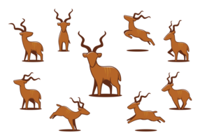 Greater Kudu icons vector