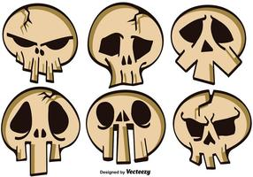Vektor Set Of Cartoon Skulls For Halloween