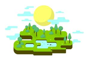 Sunny Park Vector Illustration
