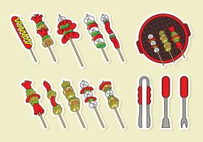 Brochette Skewers Ikoner Vector