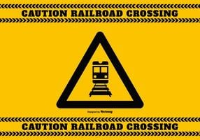 Señal de precaución de cruce de ferrocarril