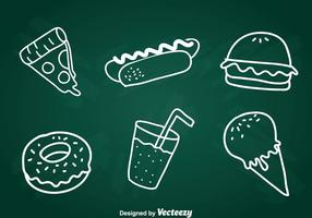 Ensemble d'icônes de craie de craie de nourriture
