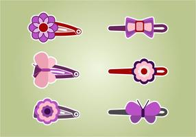 Cute Hair Clips Vector