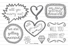 Style à la main marqué Marry Me Doodles