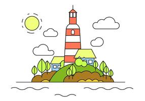 Illustration vectorielle phare hill