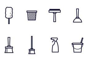 Vetores de ícones de limpeza linear