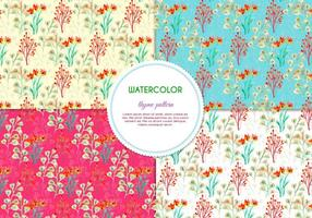Pacote de padrões de flores pintadas