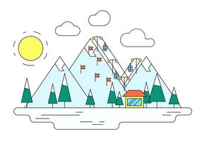 Winter Ski Resort Vector Illustration
