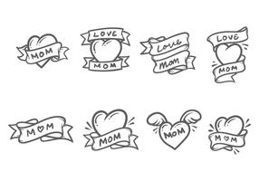 Cute Mom Tattoo Vectors