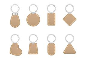 Stitched leather key holder vector