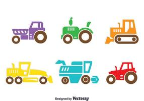 Vector de colección de tractores de colores