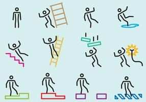 Cautions Stick Figure Signs vector