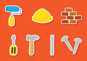 Construction Sticker Icons vector